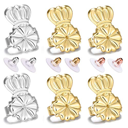 Magic Earring Lifters and Earring Backs Pack - 3 Pairs of Hypoallergenic Adjustable Earring Lifts and Earring Bullets Backs - Perfect for Drooping Earrings (2 Gold/1 Silver)