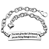 ALoveSoul You Were Given This Life Because You Are Strong Enough To Live It Inspirational Link Bracelet