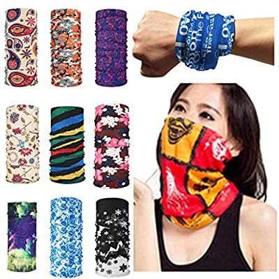 Bandana Face Mask,9pcs Magic Scarf Outdoor Headwear Bandana Sports Tube UV Face Mask for Workout Yoga Running Hiking Riding (G): Clothing