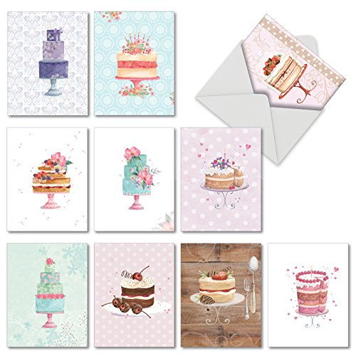 "� Blank Greeting Cards - 10 Note Cards with Envelopes, Colorful, Pretty Cake Illustrations All Occasion Cards for Birthday, Wedding, Stationery Notecards (Mini 4"" x 5 ¼"") #M2984OCB ()"