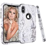 NOKEA Case Compatible iPhone Xs Max, Unique White Marble Pattern Design Shockproof Protective