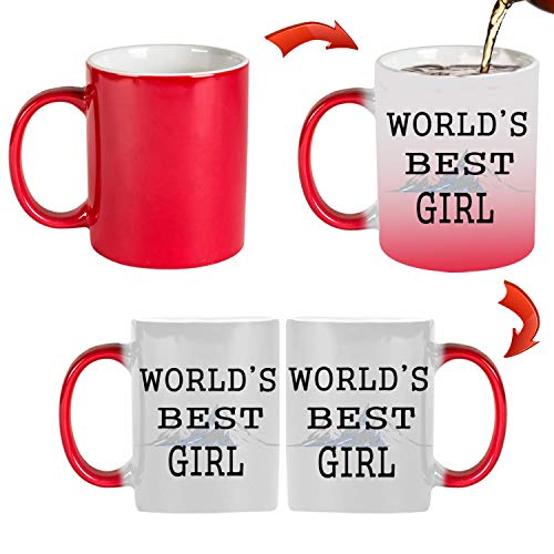 (TK.DILIGARM WORLD'S BEST GIRL. Coffee Mugs in Gift Box Pour the cup that will when it is boiling water. This is a magic cup.Birthday Present, Holiday Gift.)