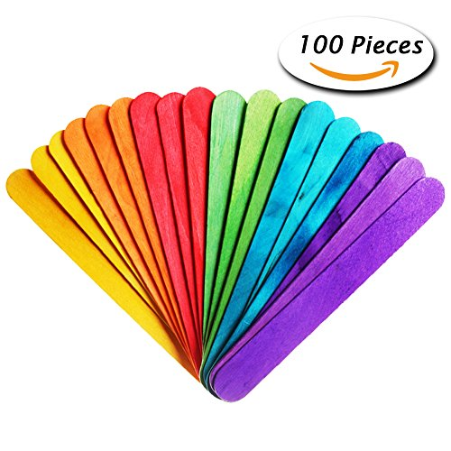 Paxcoo 100 Pcs Natural Jumbo Wood Craft Sticks Colored for Wedding Program Fan Handles and Other Wood Crafts