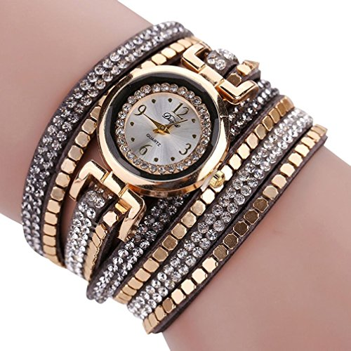 Ikevan Chic Leather Blocks Decorated Diamond Bracelet Ladies Fashion Watches - Dorm Chic