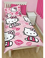 Hello Kitty Childrens Girls Kiss Reversible Twin Comforter Cover Bedding Set (Twin) (Pink)