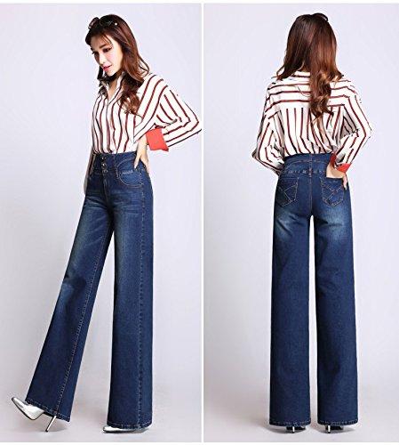 Casual Jean Pantalons Jambe Up Haute fonc Femme Evase Large Denim Confortable en Push Bleu Bleu Bootcut 1 Taille 616rY