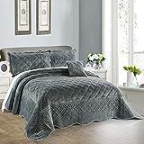 Serenta Super Soft Microplush Quilted 4 Piece Bedspread Set, Queen, Steel Grey