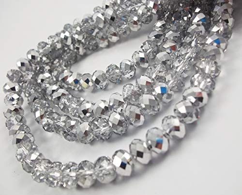 BeadsOne 3mm - 100 pcs - Glass Rondelle Faceted Beads Silver Crystal Clear Multicolored for jewerly Making findings Handmade jewerly briolette Loose Beads Spacer Donut Faceted Top Quality 5040 (C41)