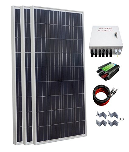 ECO-WORTHY 500W Polycrystalline Off Grid Solar Starter Kit: 3pcs 160W Poly Solar Panels + Solar Charge Controller + PV Combiner Box + MC4 Solar Cable + Solar Panel Mounting Brackets ECO-WORTHY Solar Power And Accessories