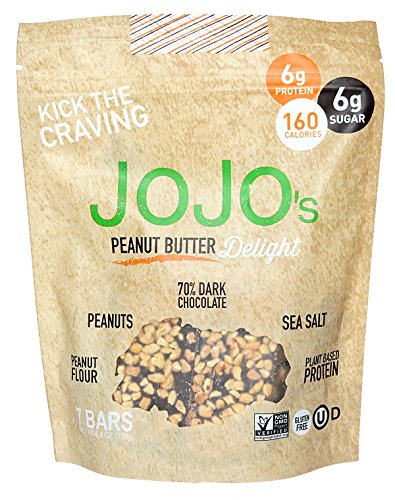 JOJOs Chocolate Peanut Butter Delight 8.4oz Bags 7 Bars Per Bag, NON-GMO, Gluten Free, Paleo and Keto Friendly, Plant Based Protein, German Dark Chocolate