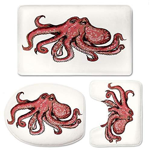 YOLIYANA Octopus Decor 3pc Non-Slip Bath Mat Set Solid Taupe Bathroom U-Shaped Contour Rug, Mat and Toilet Lid -