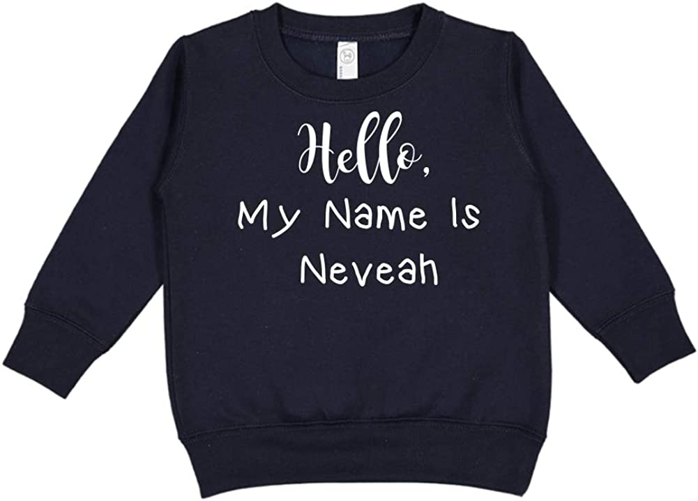 Mashed Clothing Hello My Name is Neveah Personalized Name Toddler//Kids Sweatshirt