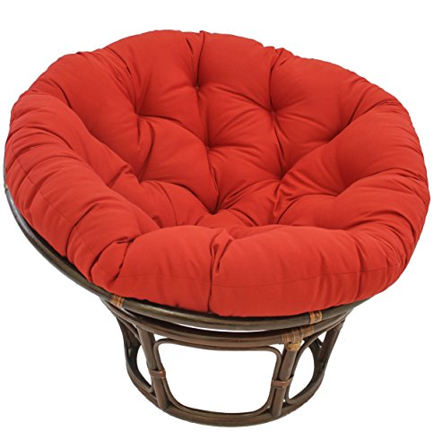 Blazing Needles Solid Twill Papasan Chair Cushion, 52″ x 6″ x 52″, Red