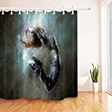 LB Dancing Girl Decor Print Shower Curtains for Bathroom, Music Dance Theme Decor Curtain, 70'' x 70'' Fabric Shower Curtain Waterproof Mildew Free