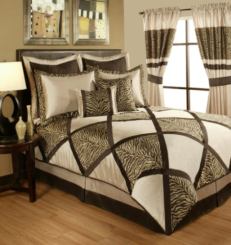 Sherry Kline True Safari 4-Piece Bedding Collection Set, Queen, Taupe by Sherry Kline