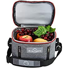 Freshore Insulated Lunch Kit Tote Slim Box Small Bags For Women/Men丨Compact Storage Meal Prep Containers Ice Pack - Crossbody With Adjustable Shoulder Strap (Dark Grey)