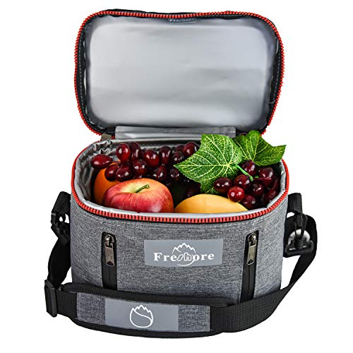 Freshore Insulated Lunch Kit Tote Slim Box Small Bags For Women/Men?Compact Storage Meal Prep Containers Ice Pack - Crossbody With Adjustable Shoulder Strap (Dark Grey)