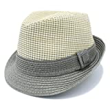 The Hatter 1 3/4'' Wide Brim Panama Roll Up Two Tone Fedora Sun Hat Beach Cap With Band (B-Grey)