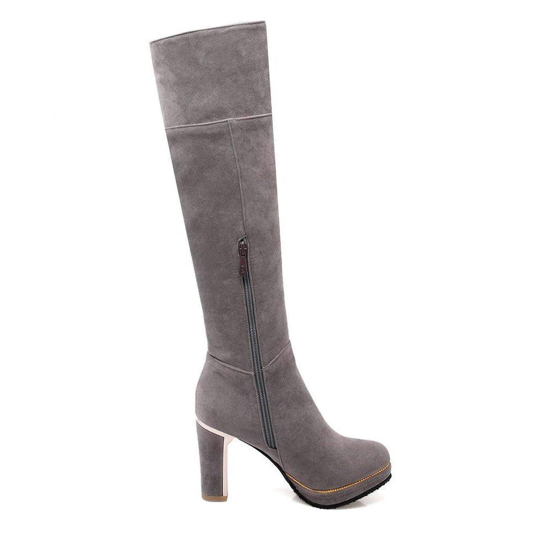 AgooLar Damen Reißverschluss Rinder Rein Stiefel mit Metallisch, Grün, 36