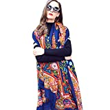 DANA XU 100% Pure Wool Women's Large Traditional Cultural Wear Pashmina Scarf (Navy Blue)