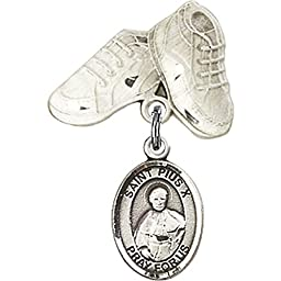 Sterling Silver Baby Badge with St. Pius X Charm and Baby Boots Pin 1 X 5/8 inches