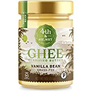 Vanilla Bean Grass-Fed Ghee Butter by 4th & Heart, 9 Ounce, Keto, Pasture Raised, Non-GMO, Lactose Free, Certified Paleo