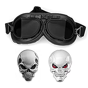 WWII RAF Vintage Pilot Style Black Frame Motorcycle Café Racer Cruiser Touring Helmet Goggles + 2pcs 3D Metal Skull Sticker (1X Red Eye + 1X Black Eyes)