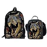 HUGS IDEA 2 Piece 3D Dinosaur Backpack Set Boys School Bag Bookbag with Lunch Bag