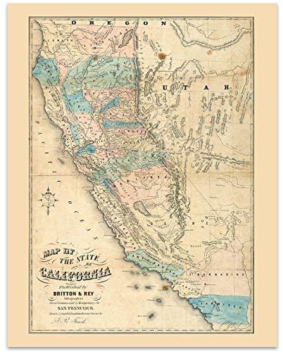 California Vintage Map Circa 1853-11 x 14 Unframed Print - Great Housewarming Gift. California Themed Office -