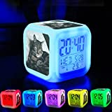 Alarm Clock 7 LED Color Changing Wake Up Bedroom with Data and Temperature Display (Changable Color) Customize the pattern-110.Cat, Tabby, Kitty, Feline, Animal, Pet, Cute, Domestic