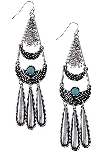 TRENDY FASHION JEWELRY FAUX STONE ACCENT TIERED EARRINGS BY FASHION DESTINATION | (Antique (Avon Halloween Earrings)