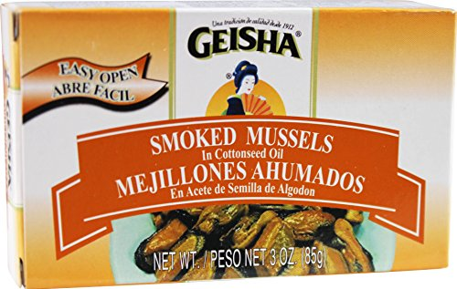 Smoked Mussels in Oil (Pack of 6), 3 oz Tin - Geisha