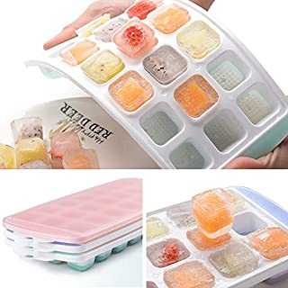 Ice Cube Trays 3 Packs Flexible Silicone Ice Trays with Spill-Resistant Lids Easy Release Ice Trays Make 63 Ice Cube, BPA Free,Stackable,Dishwasher Safe