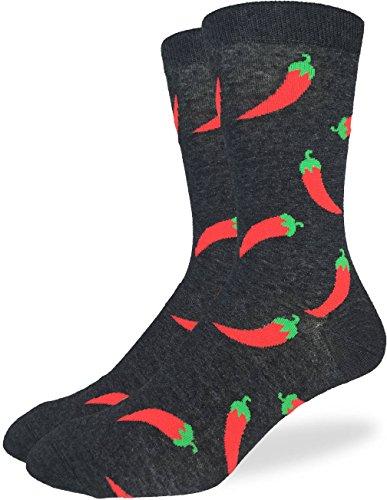 Good Luck Sock Mens Hot Pepper Crew Socks - Black, Adult Shoe Size 7-12
