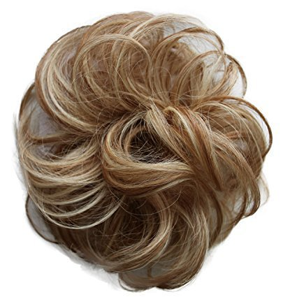 PRETTYSHOP 100% Human Hair Up Scrunchie Scrunchy Extensions Hairpiece Do Bun Ponytail Diverse Colors (blonde mix #27H613)