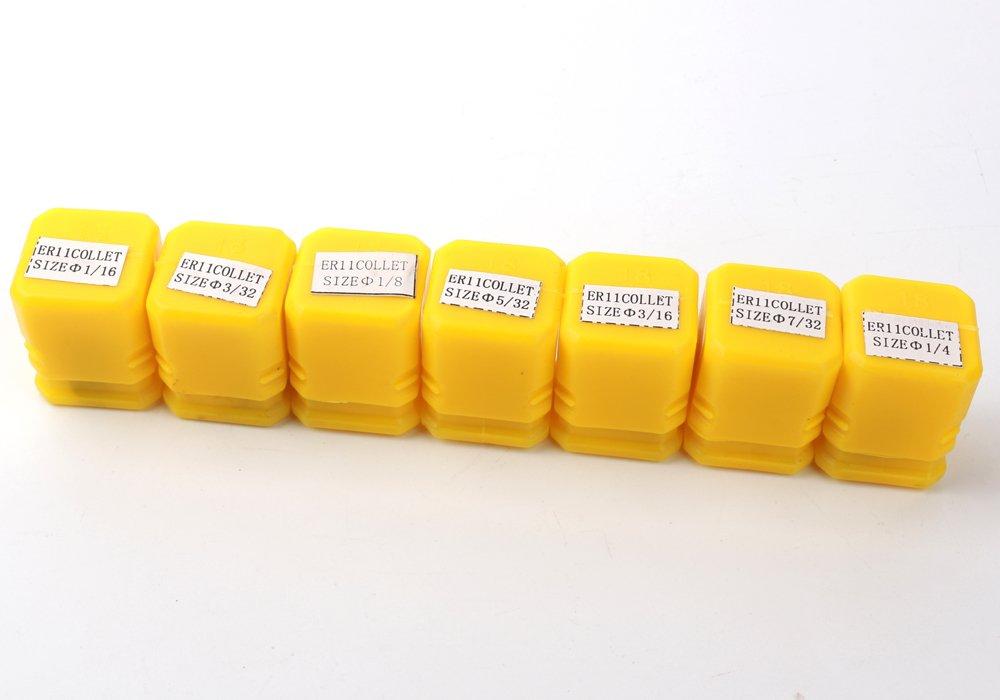 Z-COLOR 7pcs Super Precision 1/16''-1/4'' ER11 Spring Collet Set With 1/16'',3/32'',1/8'',5/32'',3/16'',7/32'',1/4'' For CNC Milling Lathe Tool Engraving Machine