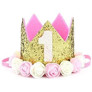 Tacobear Corona cumpleaños 1 ano Bebé Corona Diadema de Cumpleaños con Flor para Primer Cumpleaños Niño Niña Princesa (Rosa)