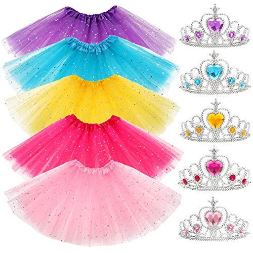 Shinelicia 10 PCs Princess Tutu Crown Dress up Accessories Tiara Ballet Tutus Gifts Birthday Princess Party Favors for Girls -