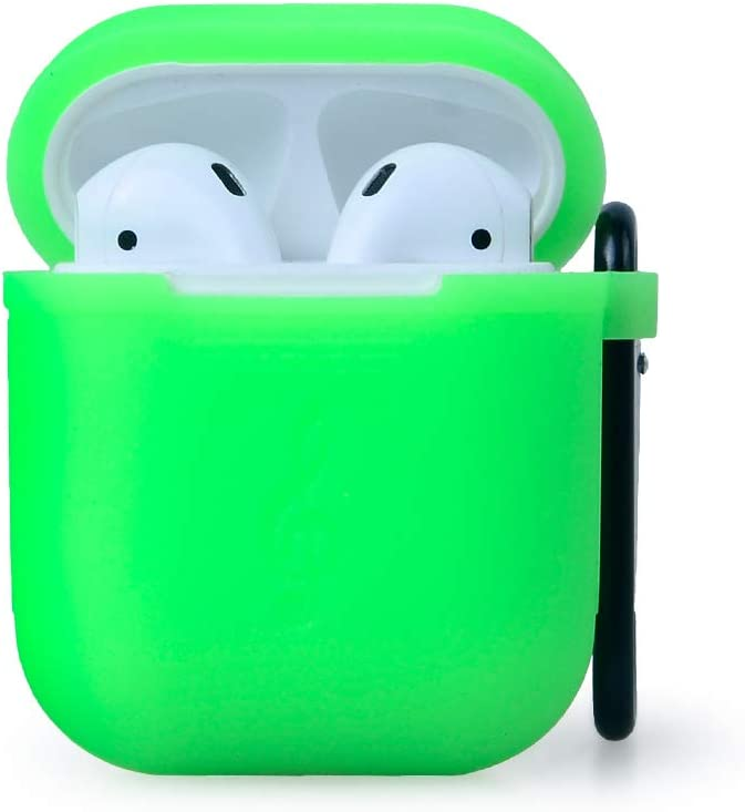 Waterproof Protective Silicone Case Cover Skin with Keychain for Apple Airpods Charging Case (Green)