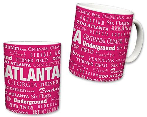 Sweet Gisele | City of Atlanta Inspired Mug | Ceramic Coffee Cup | Georgia Pride | Printed Text Theme | Area Landmarks | Cute Pink & White Detailing | Great Novelty Gift | 11 Fl. Oz