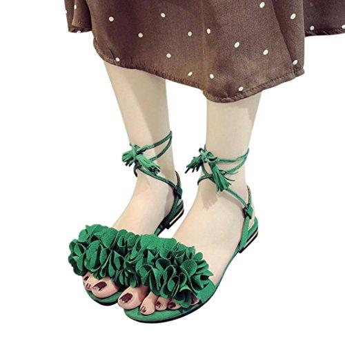 Fheaven Women Tassel Flowers Flat Casual Beach Lace up Shoes Sandals Green B8NDSiWyxZ