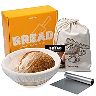"Eco-Pals 9"" Bread Banneton Proofing Baskets for Sourdough + Liner + Dough Scraper + Linen Bag Natural Rattan Brotform Proofer Artisan Baking Supplies Proofing Bowl Kit + Easy Recipe & How-To Guide"