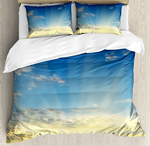 (Ambesonne Sky Duvet Cover Set Queen Size, Sun Rays Above The Horizon Sunset Clouds Seasonal Scenic Beauty of The World Picture, Decorative 3 Piece Bedding Set with 2 Pillow Shams,)