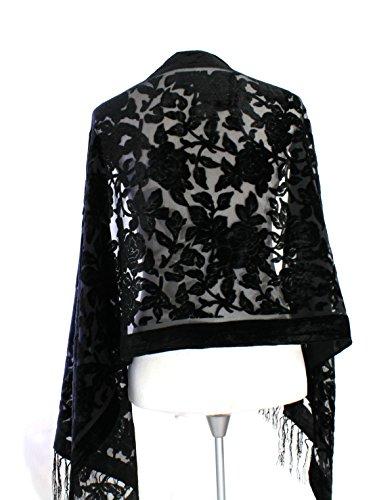 Handmade New Elegant Floral Black Color Silk Burnout Velvet Scarf Shawl Wrap ()