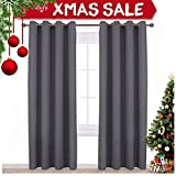 dark grey curtains amazon NICETOWN Blackout Curtains Panels for Bedroom - Three Pass Microfiber Noise Reducing Thermal Insulated Solid Ring Top Blackout Window Drapes (Two Panels, 52 x 84 Inch, Gray)