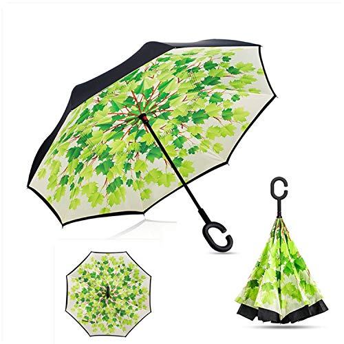 Windproof Reverse Folding Double Layer inverted car Umbrella Self Stand upside down women's rain umbrella c handle drop shipping,as pic24 ()