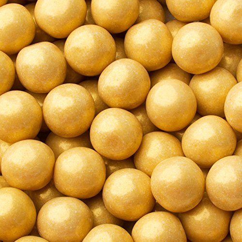 Gumballs for Candy Buffet and Party Favors - 2 LB Flavored 1 Inch Wedding Gumballs - Oh! Nuts (Gold Shimmer Pearl gumballs) ()