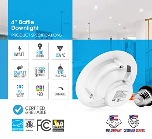 Parmida (12 Pack) 4'' inch Dimmable LED Downlight, 9W (65W Replacement), Baffle Design, 3000K (Soft White), 600lm, Energy Star & ETL-Listed, Retrofit LED Recessed Lighting Fixture, LED Trim by Parmida LED Technologies (Image #2)