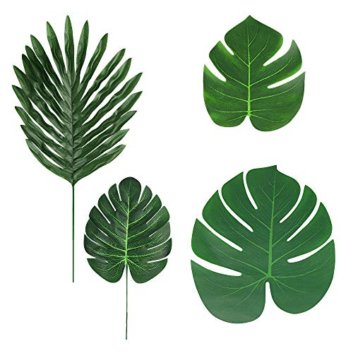 ZOYJITU Artificial Palm Leaves 36 Pcs 4 Kinds, Tropical Plant Faux Leaves Hawaiian Luau Party Jungle Beach Theme BBQ Birthday Party Table Leaves Decorations(4 Styles) -