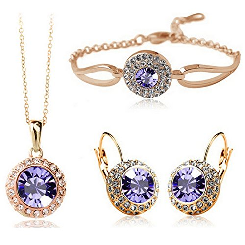 Crystal Round Fashion (MAFMO Women Fashion Jewelry 18K Gold Plated Crystal Round Shaped Necklace Bracelet Earrings Set (Voilet))